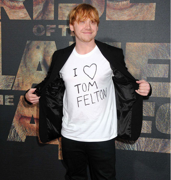 Harry Potter Ron Weasly supports co star Draco in a slogan t-shirt