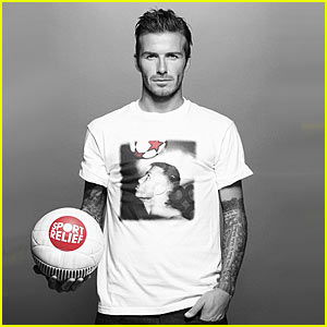 David in one of the Beckham's t-shirt designs for Sports Relief