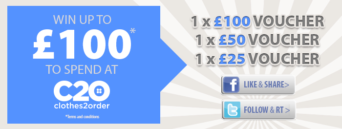 competition banner WIN up to £100 to spend at Clothes2order!